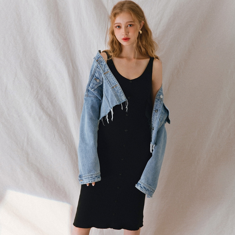 AIR SPACE LADY 前後V領曲線無袖羅紋洋裝(黑)