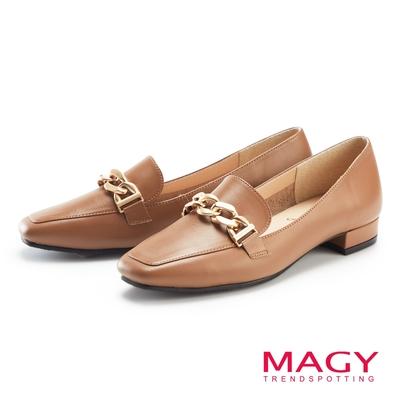 MAGY 金屬串鍊真皮低跟 女 樂福鞋 棕色