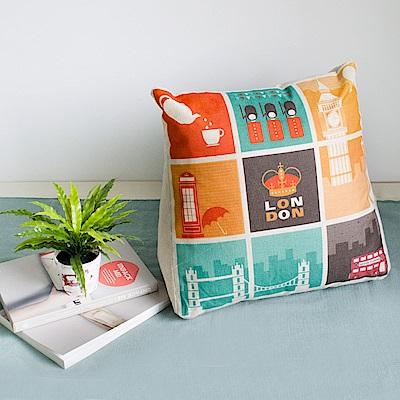 【收納職人】Zakka日系雜貨風棉麻織紋舒壓三角抱枕/靠枕/腿枕(拼貼倫敦)