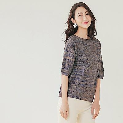 柔軟舒適漸層配色麻花涼爽針織五分袖上衣-OB大尺碼
