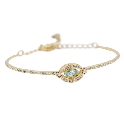SWAROVSKI 施華洛世奇 SPARKLING璀璨浮動水晶幾何造型金色手環手鍊