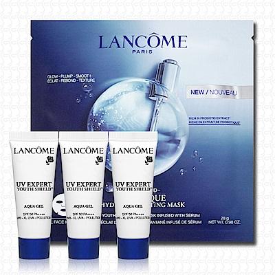 LANCOME蘭蔻 超輕盈UV水凝露10mlx3+肌因活性凝凍面膜28g