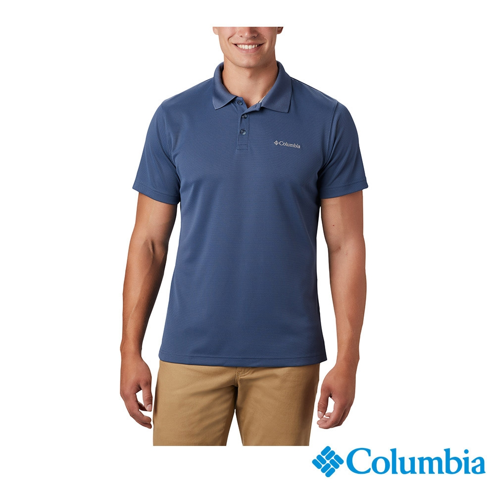 Columbia 哥倫比亞 男款- UPF30快排短袖Polo衫-4色  UAE01260 (墨藍)