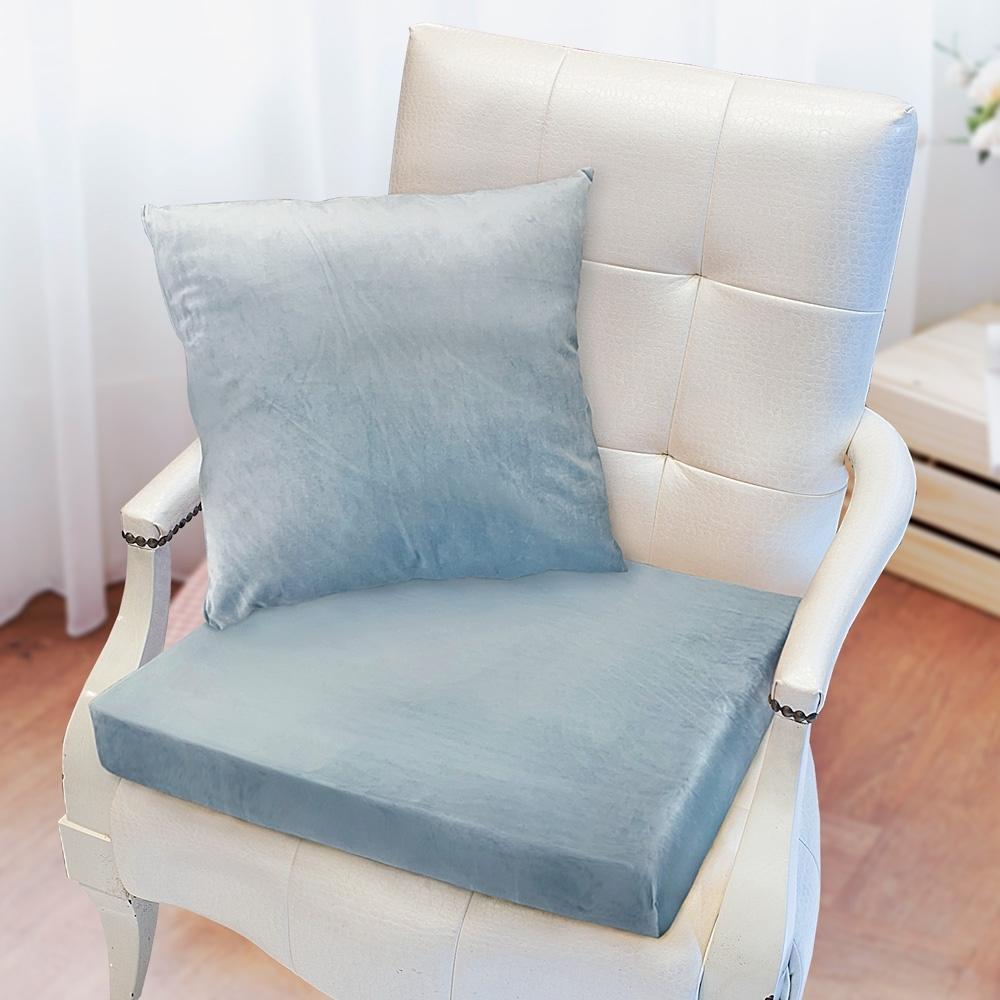 凱蕾絲帝-高支撐記憶聚合加厚絨布坐墊/沙發墊/實木椅墊55x55cm-淺藍(二入)