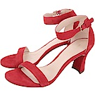 Stuart Weitzman PARTNUDTIZ 紅色麂皮一字繫踝高跟涼鞋