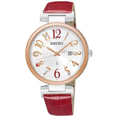 SEIKO 精工 LUKIA晶鑽太陽能真皮手錶SUT336J1-玫瑰金框/32mm
