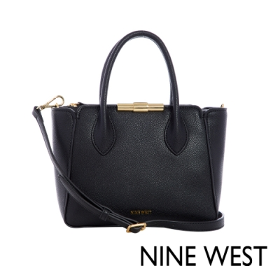 NINE WEST HOLLIS金屬釦中型手提包-黑色(116605)