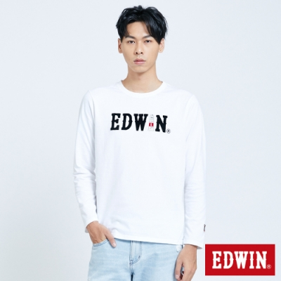 EDWIN 塗鴉LOGO 薄長袖T恤-男-白色