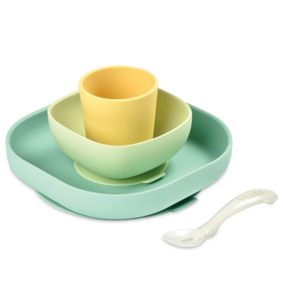 奇哥 BEABA 寶寶矽膠學習餐具組-黃色