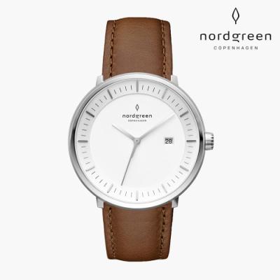 Nordgreen Philosopher 哲學家 月光銀系列 復古棕真皮錶帶手錶 36mm