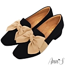 Ann'S清甜女孩-造型立體大蝴蝶結紳士鞋-黑