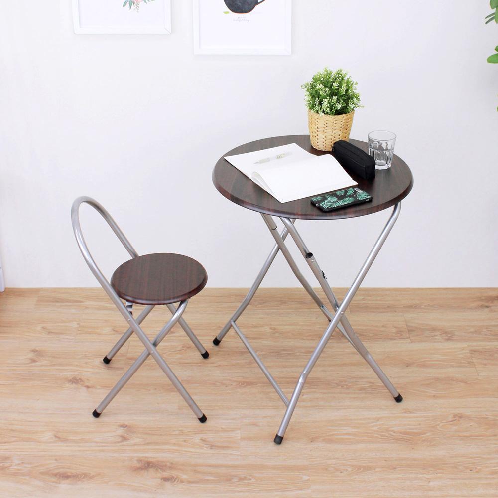 頂堅 [1桌1椅]圓形折疊桌椅組/洽談桌椅組/餐桌椅組(二色)