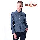 【hilltop山頂鳥】女款ThermoTech保暖長袖襯衫C05F20深藍黑