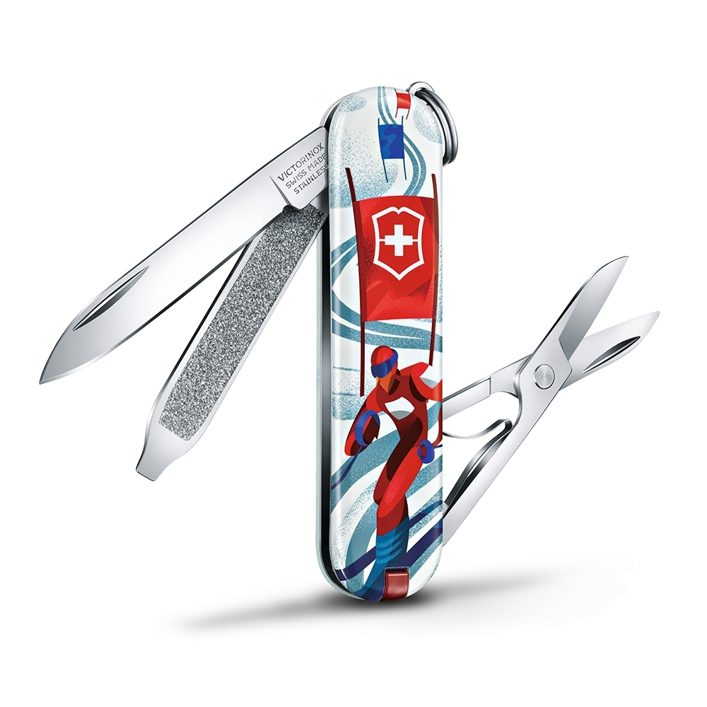 VICTORINOX 瑞士維氏限量迷你7用印花瑞士刀-滑雪比賽 06223.L2008
