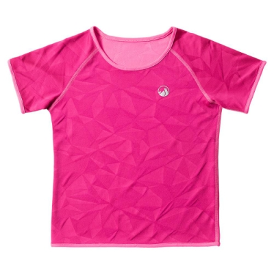 【hilltop山頂鳥】童款吸濕快乾抗UV抗菌雙面穿T恤S04C12螢光粉紅