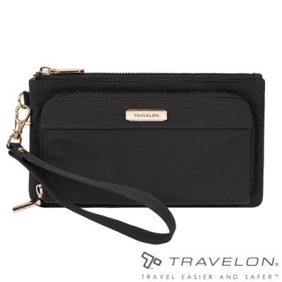 【Travelon美國防盜包】RFID BLOCKING雙層手拿包TL-43404黑/旅遊防盜包/隨身包/護照包/長夾/手機包