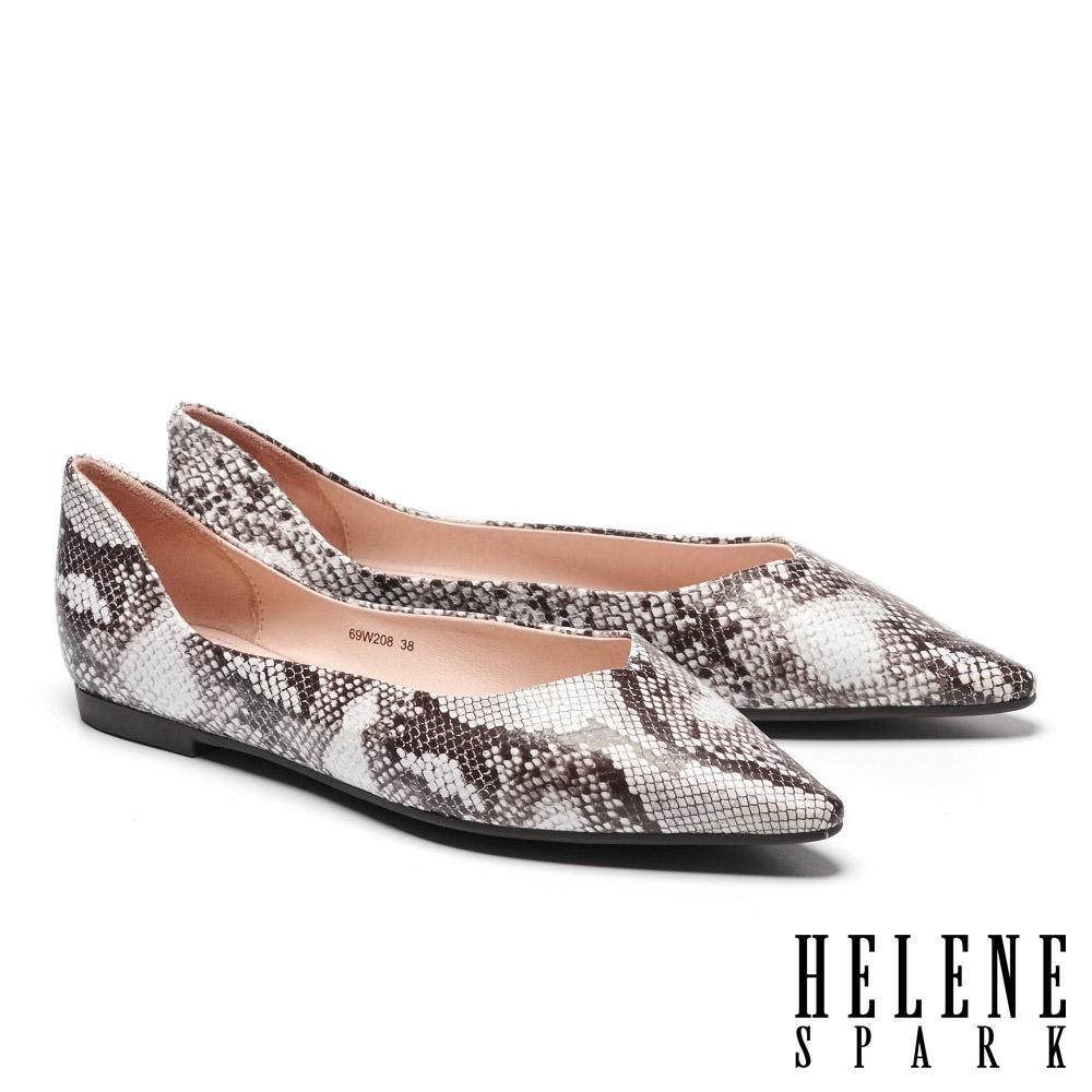 平底鞋 HELENE SPARK 簡約時髦蛇紋皮革尖頭平底鞋-白