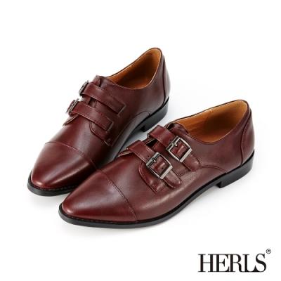 HERLS孟克鞋-內真皮雙帶釦鐶尖頭孟克鞋牛津鞋-酒紅色