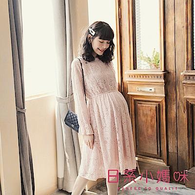 日系小媽咪孕婦裝-孕婦裝~古董全蕾絲縮腰洋裝