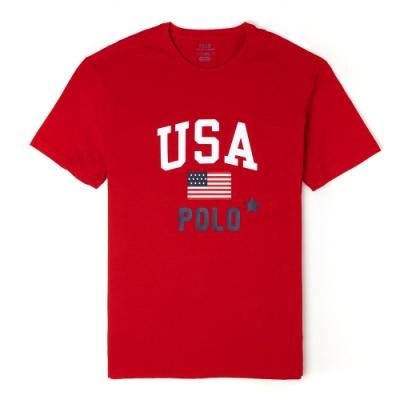 Polo Ralph Lauren 經典印刷美國國旗系列短袖T恤-紅色