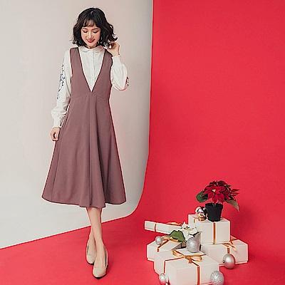純色質感連身背心洋裝-OB大尺碼