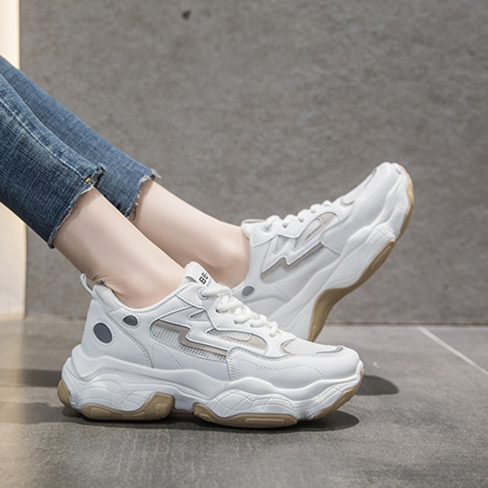 LN 現+預 透氣網面撞色反光老爹鞋-3色 (白色)
