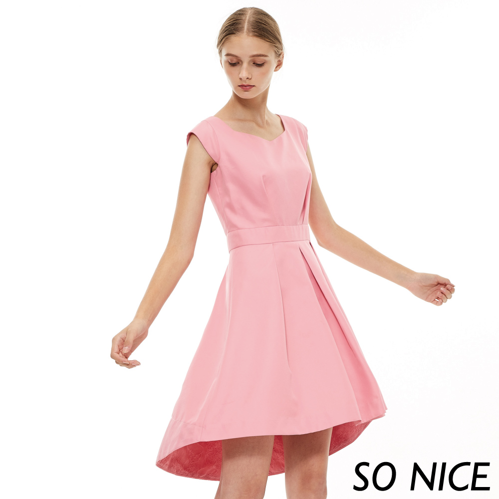 SO NICE優雅甜美粉壓褶小洋裝