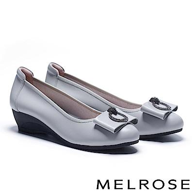 高跟鞋 MELROSE 氣質典雅鑽釦蝴蝶結全真皮楔型高跟鞋-灰