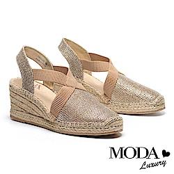 涼鞋 MODA Luxury 閃亮渡假風交叉帶草編厚底楔型涼鞋-金
