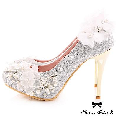 Mori girl精緻前後花紗珍珠水鑽高跟婚鞋 銀白