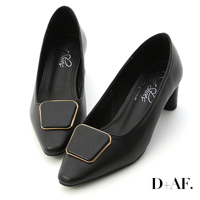 D+AF 絕美知性.幾何方釦小尖頭跟鞋*黑