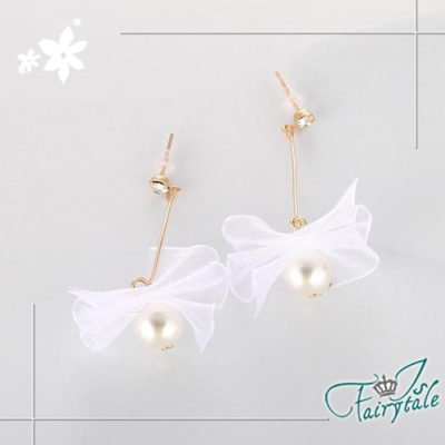 iSFairytale伊飾童話 蕾絲緞帶 蝴蝶結珍珠垂墜耳環