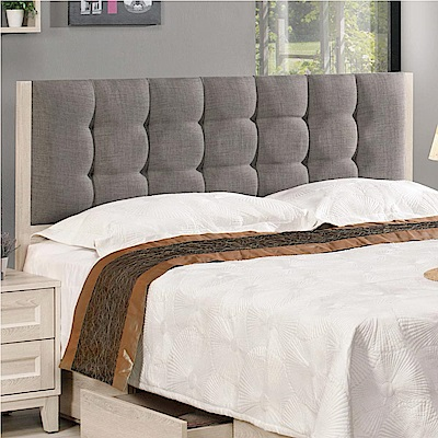 文創集 迪亞時尚6尺棉麻布雙人加大床頭片(不含床底)-183x8x98cm免組