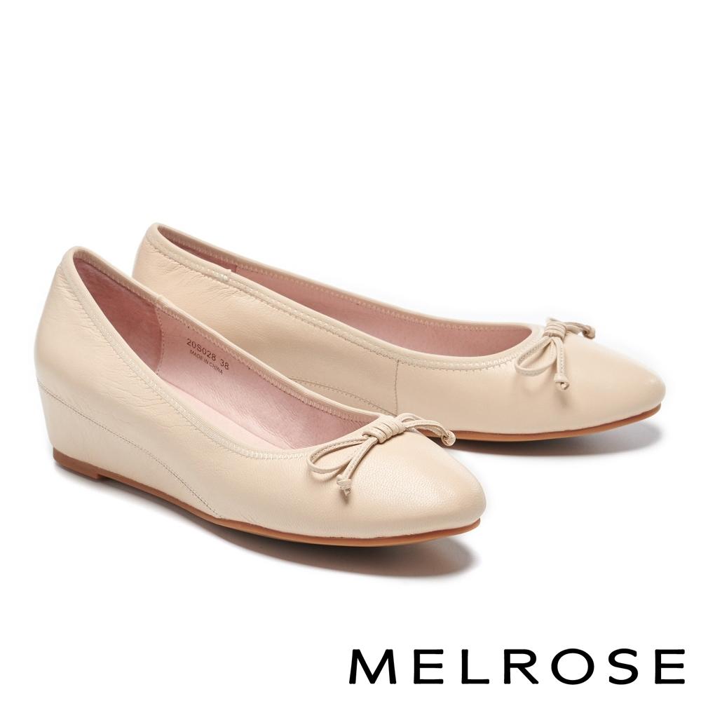 低跟鞋 MELROSE 氣質典雅蝴蝶結造型全真皮楔型低跟鞋-米