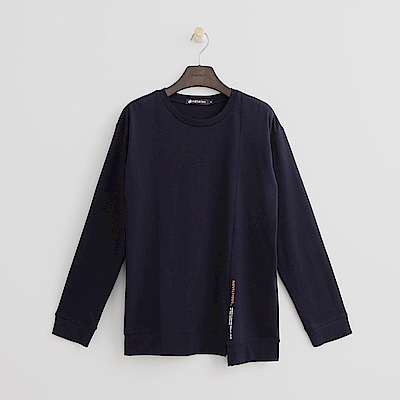 Hang Ten - 女裝 - 棉質素面不對稱T恤-深藍色