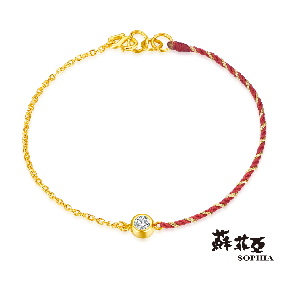 蘇菲亞SOPHIA-GLOVER系列-經典水晶雙色黃金手鍊