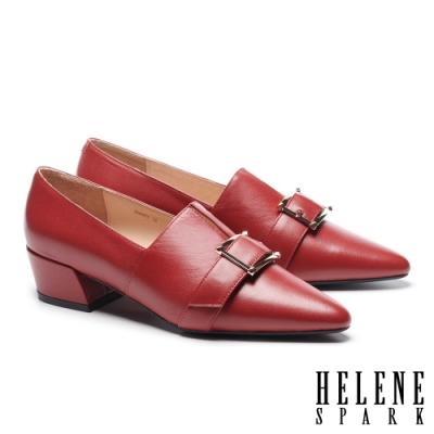 高跟鞋 HELENE SPARK 紳士典雅金屬釦羊皮尖頭粗高跟鞋-紅