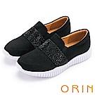 ORIN 時尚渡假風 閃耀燙鑽平底休閒鞋-黑色