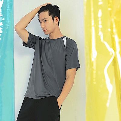 台灣製造.冰咖啡紗造型拼色運動上衣-OB嚴選