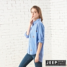 JEEP 女裝 滿版狐狸圖騰長版長袖襯衫-藍色