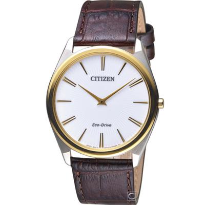 CITIZEN 光動能超薄腕錶(AR3074-03A)白/ 39mm