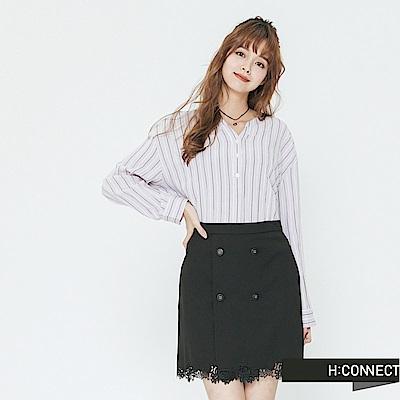 H:CONNECT 韓國品牌 女裝-半開襟條紋配色襯衫-紫