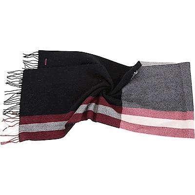 BALLY Trainspotting 雙色條紋混紡羊毛流蘇圍巾(黑色)