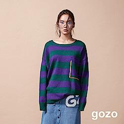 gozo 配色條紋長版針織上衣(二色)