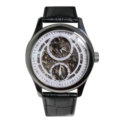 HYUN炫 鏤空雙眼設計皮革錶-白