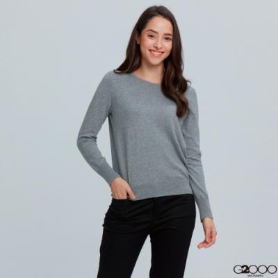 G2000素面長袖針織衫-灰色
