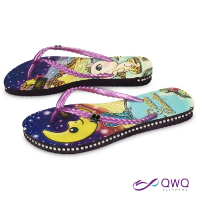 QWQ 女款插圖夾腳人字拖鞋-鞋帶保固-水鑽拖鞋-時尚拖鞋-Catch Butterflies-紫(ADST04303)
