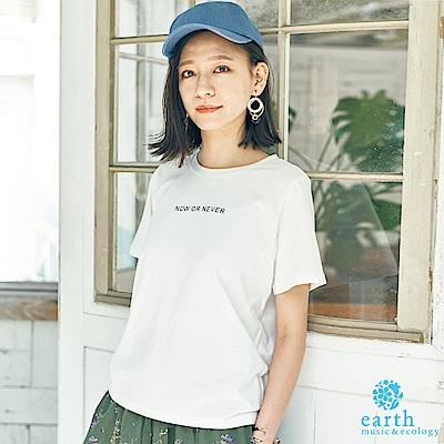 earth music 簡約標語短袖T恤/上衣