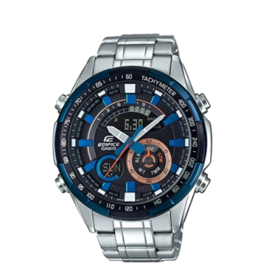 CASIO卡西歐 立體金屬時刻雙顯男腕錶(ERA-600DB-1A)-藍x47mm