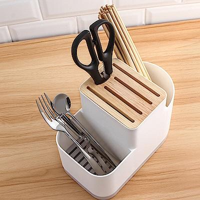 E.City_多功能可瀝水刀具木質餐具3格收納架